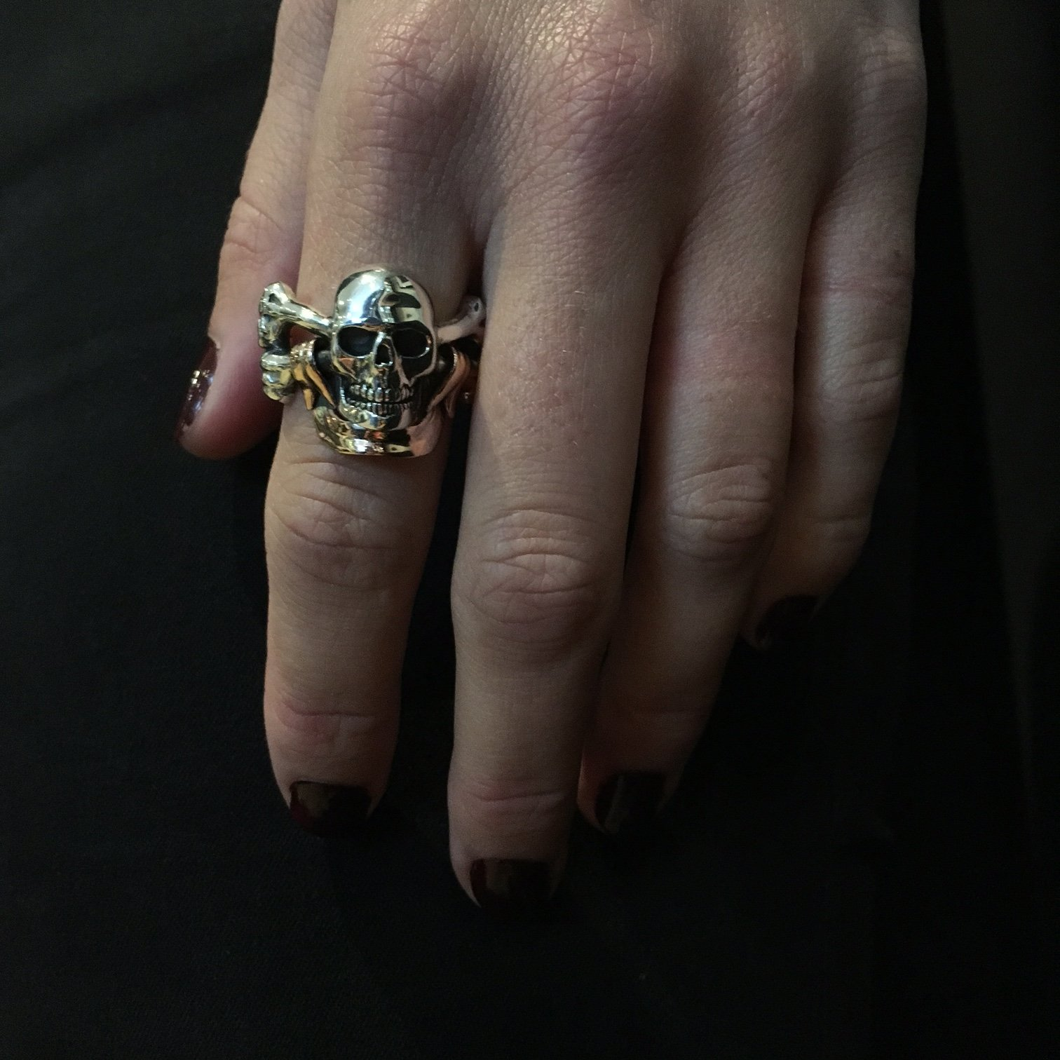 Skull Crossbones With Banner Ring The Great Frog